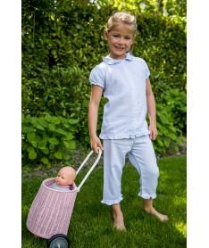 Pyjama court chevron ciel