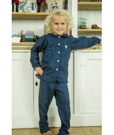 Pyjama long flanelle bleu...