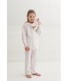 Pyjama long rayures roses