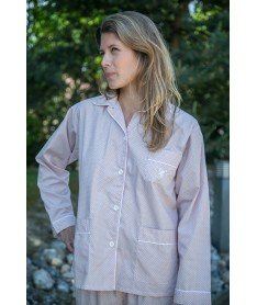 Pyjama long femme popeline...