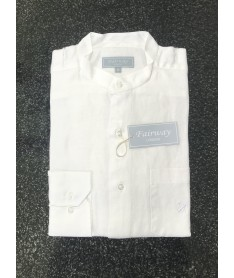 Chemise lin homme blanc col...