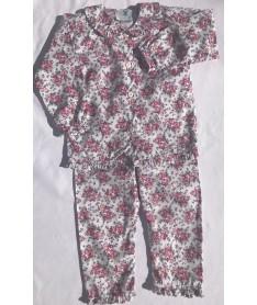 Pyjama long fille Fleurs roses