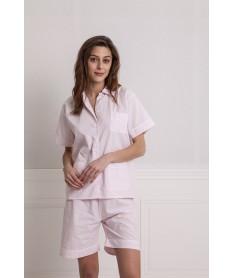 Pyjama court rayures rose