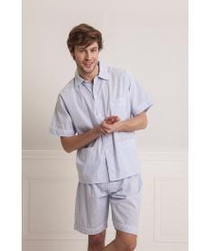 Pyjama court rayures ciel