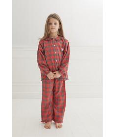 Pyjama long pilou tartan rouge