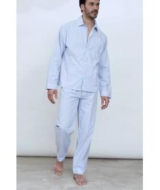 Pyjama long rayures ciel et...
